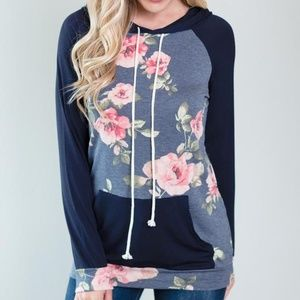 NWT LONG SLEEVE FLORAL CONTRAST HOODIE SWEATER
